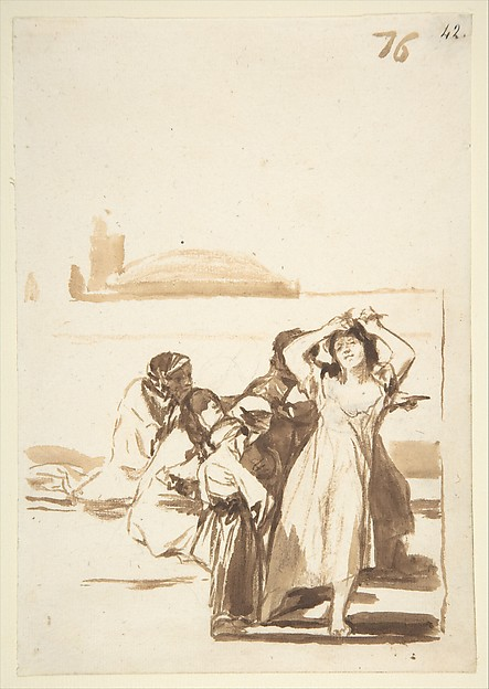 A woman pulling at her hair being watched by a group of figures; folio 76 from the Images of Spain Album 'F', Goya (Francisco de Goya y Lucientes) (Spanish, Fuendetodos 1746–1828 Bordeaux), Brush and brown wash over black chalk on laid paper