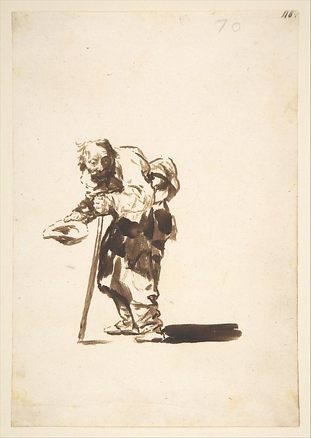 Beggar with a staff in his left hand; folio 70 from the Images of Spain Album 'F', Goya (Francisco de Goya y Lucientes) (Spanish, Fuendetodos 1746–1828 Bordeaux), Brush and brown wash on laid paper