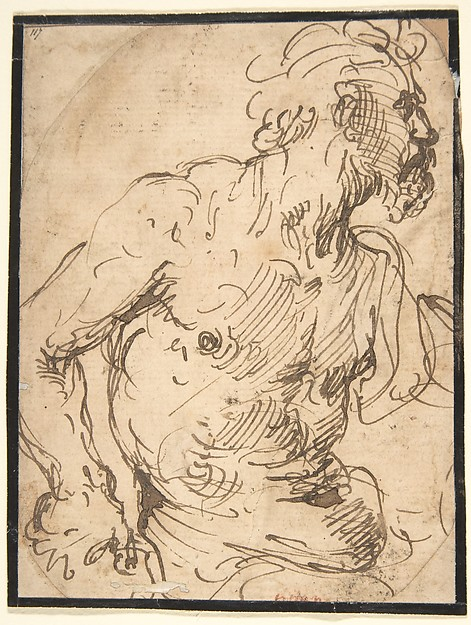 Study of a Seated Nude, Bearded Man in Half-Length, Attributed to Francisco de Herrera, the Elder (Spanish, Seville ca. 1590–1654 Madrid), Pen and brown ink on light tan laid paper