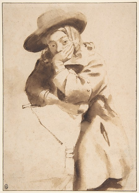 Young Man in Broad-Brimmed Hat, Resting His Chin on His Left Hand, Gerbrand van den Eeckhout (Dutch, Amsterdam 1621–1674 Amsterdam), Brush and brown wash, with framing line in pen and brown ink