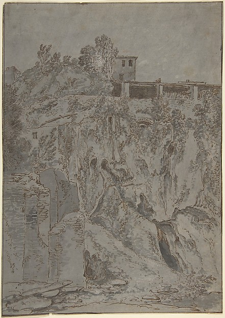 Italianate Buildings on a Hill at Tivoli, Adriaen Honich (Dutch, Dordrecht ca. 1644–after 1683 Dordrecht), Red chalk, pen and brown ink, gray wash, heightened with white