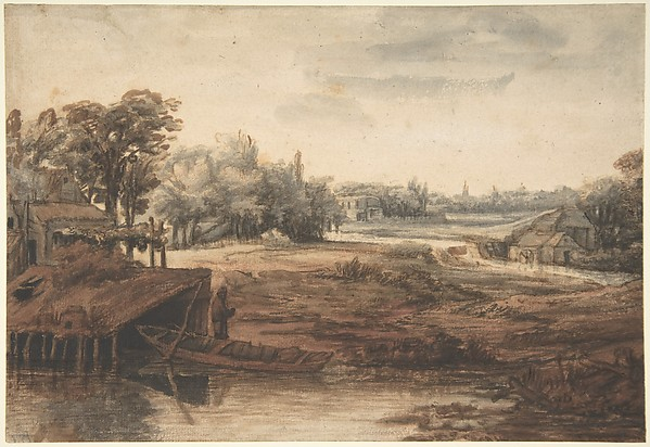 River Landscape with a Man Standing by a Boathouse, Philips Koninck (Dutch, Amsterdam 1619–1688 Amsterdam), Pen and brown ink, reddish-brown (red chalk?), gray wash.