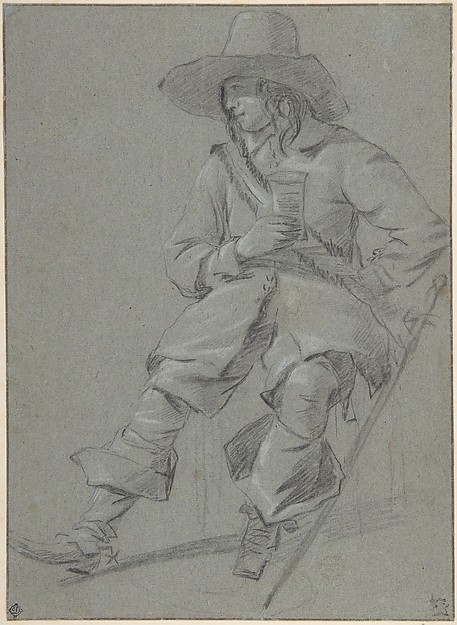 Seated Cavalier with Glass, Gabriël Metsu (Dutch, Leiden 1629–1667 Amsterdam), Black chalk heightened with white on blue gray paper. Pasted down.