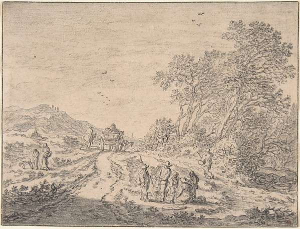 Figures on a Road, Pieter de Molijn (Dutch, London 1595–1661 Haarlem), Black chalk and gray wash, framing line in pen and gray ink