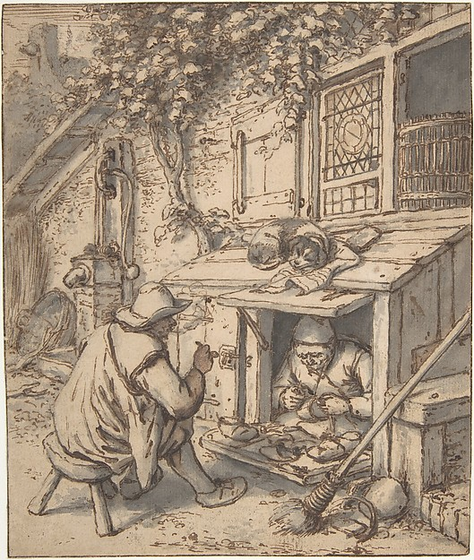 The Cobbler, Adriaen van Ostade (Dutch, Haarlem 1610–1685 Haarlem), Pen and brown ink, brush and gray wash, over graphite underdrawing. Incised for transfer.