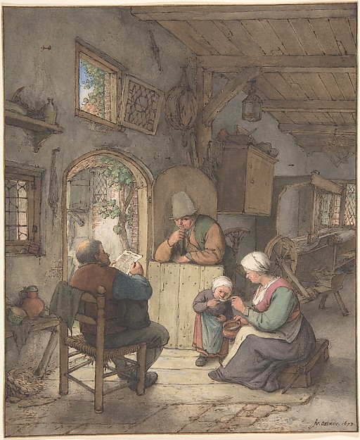 Reading the News at the Weavers' Cottage, Adriaen van Ostade (Dutch, Haarlem 1610–1685 Haarlem), Pen and brown ink, watercolor, white heightening, traces of graphite; framing lines by the artist (?) in brown ink and gold.