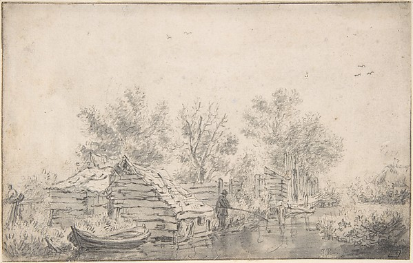 Canal Landscape with a Fisherman, Attributed to Jacob van Ruisdael (Dutch, Haarlem 1628/29–1682 Amsterdam), Black chalk, brush and gray wash. Framing line in pen & brown ink
