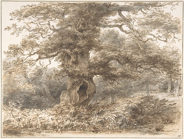 In the Park at Packington, Heneage Finch, 4th Earl of Aylesford (British, Syon House 1751–1812 Great Packington, Warwickshire), Pen and brown ink and brush and brown and gray wash