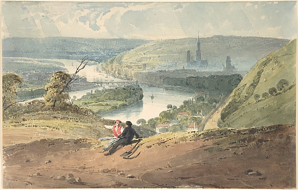 View of Rouen from St. Catherine's Hill, Richard Parkes Bonington (British, Arnold, Nottinghamshire 1802–1828 London), Brush and watercolor and pen and brown ink over graphite