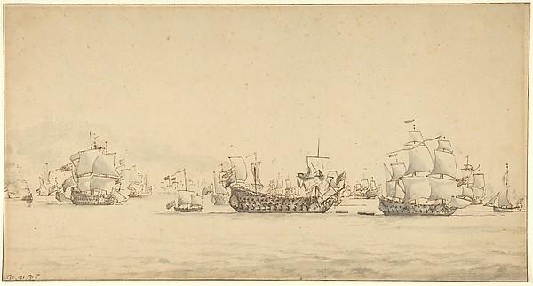 Warships at Sea, Willem van de Velde II (Dutch, Leiden 1633–1707 London), Pen and brown ink, gray wash