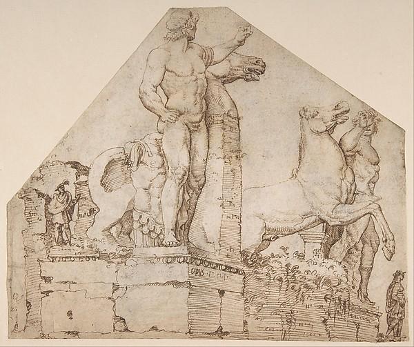 The Dioscuri on Monte Cavallo; verso: Study of a Spiral Staircase, Maarten van Heemskerck (Netherlandish, Heemskerck 1498–1574 Haarlem), Pen and brown ink