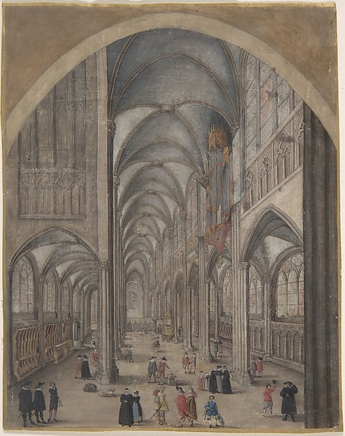 Interior of Strasbourg Cathedral, Attributed to Jacob van der Heyden (Flemish, Strasbourg 1573–1645 Brussels), Gouache and shell gold on vellum