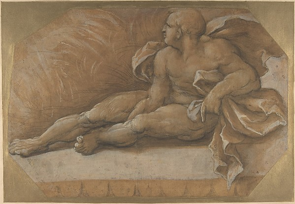 Nude Male Figure Seated on the Ground, Amico Aspertini (Italian, Bologna ca. 1474–1552 Bologna), Black chalk, brush and brown wash, highlighted with white gouache, on brown-washed paper