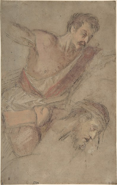 Studies for a Scourging Soldier and the Head of Christ, Jacopo Bassano (Jacopo da Ponte) (Italian, Bassano del Grappa ca. 1510–1592 Bassano del Grappa), Pastel with red chalk on laid light brown paper (formerly blue)