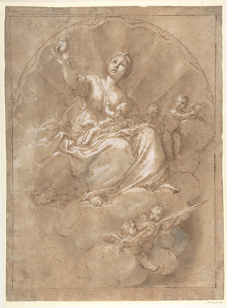 Allegorical Figure of Charity, Marcantonio Franceschini (Italian, Bologna 1648–1729 Bologna), Pen and brown ink, brush and gray wash, highlighted with white, on brown washed paper