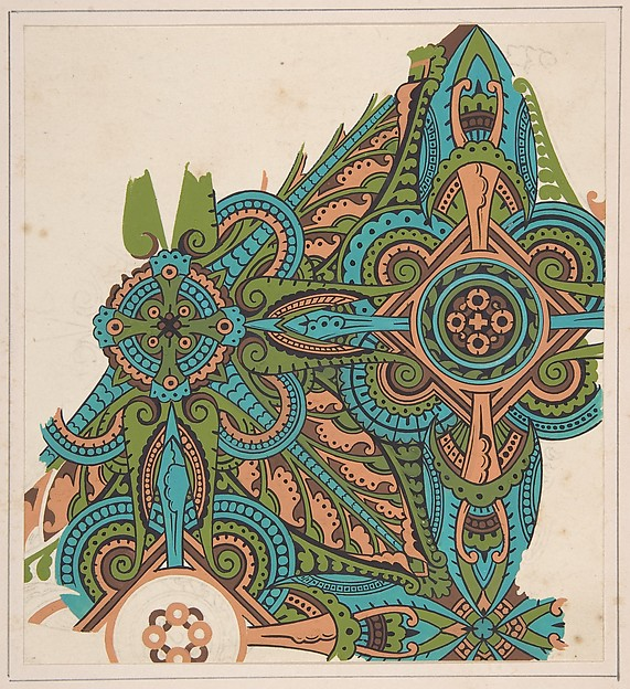 Design drawing, Christopher Dresser (British, Glasgow, Scotland 1834–1904 Mulhouse), Graphite, ink, and gouache
