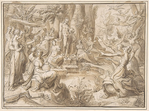 The Challenge of the Pierides, from Ovid's Metamorphosis (Book V: 294-678), Karel van Mander I (Netherlandish, Meulebeke 1548–1606 Amsterdam), Pen and brown ink, brown wash. Framing line in pen and brown ink