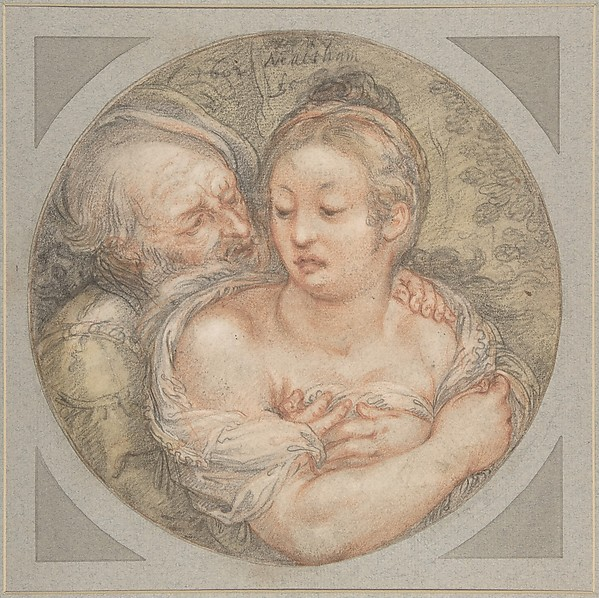The Illmatched Couple, Jacob Matham (Netherlandish, Haarlem 1571–1631 Haarlem), Black and red chalk, brush and green wash.  Laid down on blue cardboard mount with framing lines in gold, brown and red