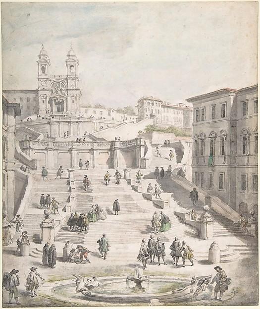 Scalinata della Trinità dei Monti, Giovanni Paolo Panini (Italian, Piacenza 1691–1765 Rome), Pen and black ink, brush and gray wash, watercolor, over graphite