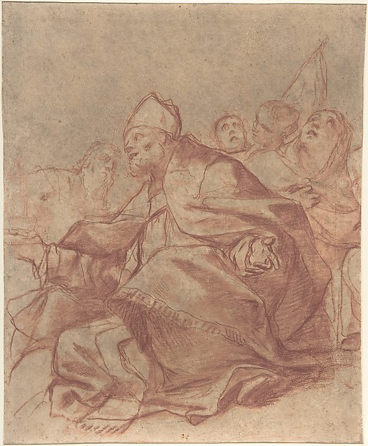 Seated Bishop with Arms Extended and Three Attendant Figures (recto); Head of a Lion and Perspective Diagrams (verso), Mattia Preti (Il Cavalier Calabrese) (Italian, Taverna 1613–1699 Valletta), Red chalk, brush and red wash (recto); red chalk (verso), on beige paper