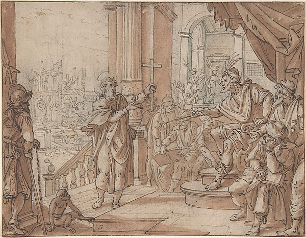 Saint John the Baptist Appearing Before Herod, Augustin Braun (German, Cologne ca. 1570–1639 Cologne), Pen and brown ink, brown-red and blue-green wash, over a sketch in black chalk (?)