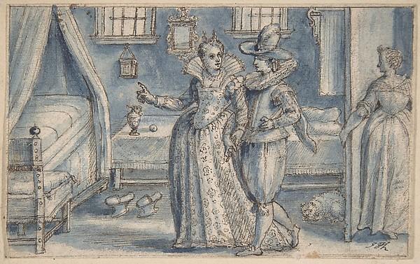 Study for an engraving in the Hortus Voluptatum, Crispijn de Passe the Elder (Netherlandish, Arnemuiden 1564–1637 Utrecht), Pen and brown ink, brush and blue wash, over black chalk. Incised