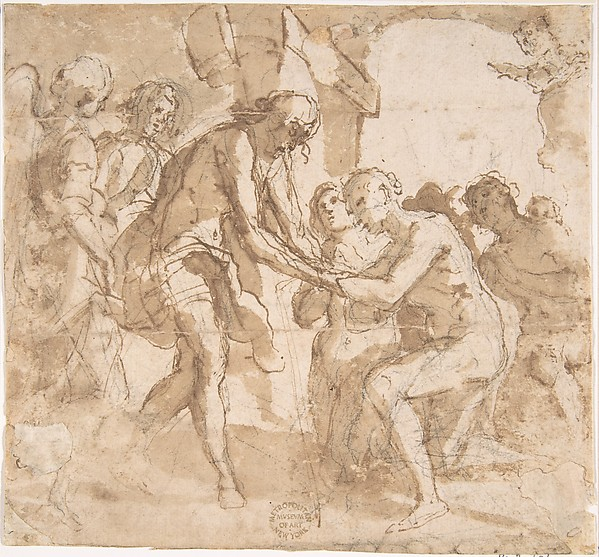 Descent of Christ into Limbo, Anonymous, Italian, 16th century (Italian, active Central Italy, ca. 1550–1580), Pen and brown ink, brush and brown wash, over black chalk on cream paper