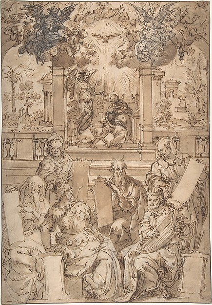 The Six Prophets of the Coming of Christ, Jan van der Straet, called Stradanus (Netherlandish, Bruges 1523–1605 Florence), Pen and brown ink, brush and brown wash, over black chalk. Framing line in pen and brown ink