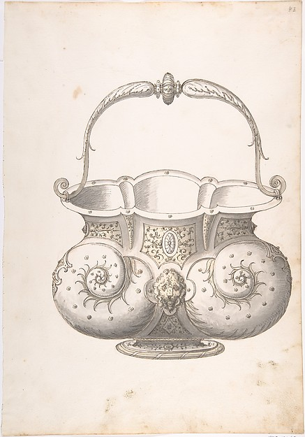 Design for a Bucket, Erasmus Hornick (Netherlandish, Antwerp ca. 1520–1583 Prague), Pen and brown and black ink, brush with gray and yellow wash over red chalk