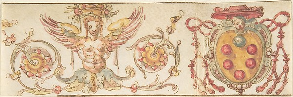 Design with Medici Coat of Arms and Harpy (Embroidery Design?), Anonymous, Italian, 16th century, Pen and brown ink, watercolor, on vellum