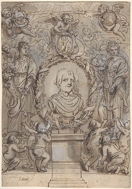 Design for a Title Page, Abraham van Diepenbeeck (Flemish, 's Hertogenbosch 1596–1675 Antwerp), Pen and brown ink, black chalk, brown wash, white gouache;
