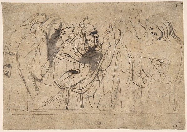 Christ and the Pharisees; verso; Christ and a Pharisee, Anthony van Dyck (Flemish, Antwerp 1599–1641 London), Pen and brown ink, brush and brown wash