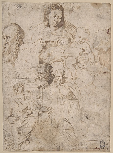Sheet of Studies, Anthony van Dyck (Flemish, Antwerp 1599–1641 London), Pen and brown ink with wash