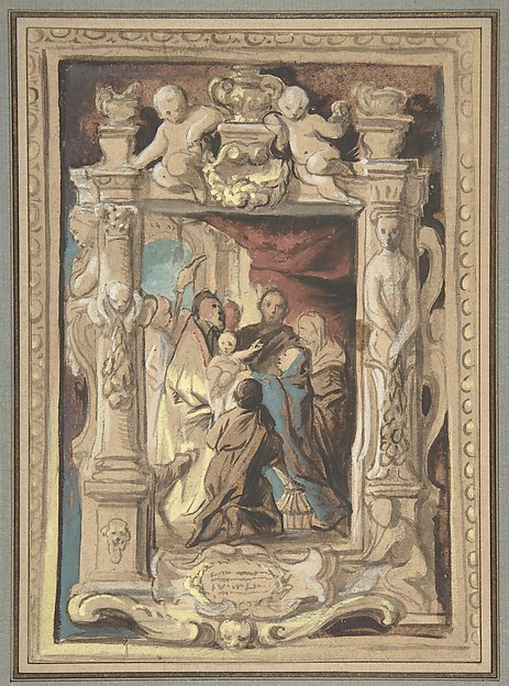 The Presentation in the Temple, with a Design for a Sculpted Frame, Jacob Jordaens (Flemish, Antwerp 1593–1678 Antwerp), Brush and brown ink, watercolor, gouache, heightened with white and yellow gouache