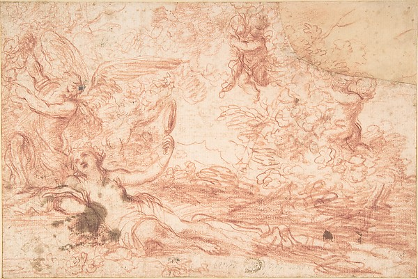 Mythological Scene, Anonymous, Italian, Bolognese, 17th century, Red chalk on cream paper