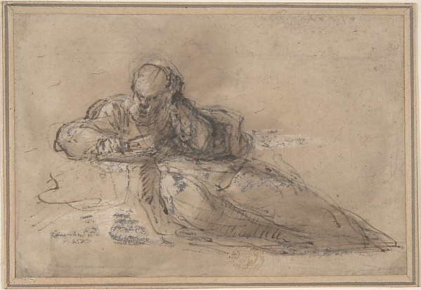 Man Seated on the Ground, Writing, Anonymous, Italian, Roman-Bolognese, 17th century, Pen and brown ink, brush and brown wash, over black chalk, highlighted with white gouache, on light tan paper