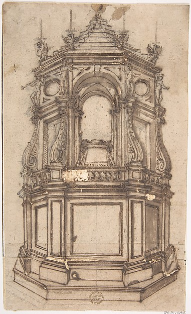 Catafalque for a Cardinal, Anonymous, Italian, Roman-Bolognese, 17th century, Pen and brown ink, brush and brown wash, over black chalk on light tan paper