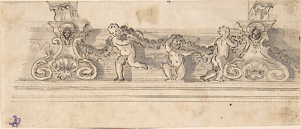 Design for the Decoration of a Cornice with Putti holding a Garland (recto); Red Chalk Sketches (verso), Anonymous, Italian, 17th century, Pen and brown ink over ruled lines and black chalk underdrawing, with gray and blue wash (recto); red chalk (verso)