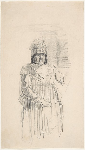 Study of a Figure with Headress, Félicien Rops (Belgian, Namur 1833–1898 Essonnes), Graphite on paper