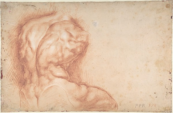 The Virgin Adored by Saints (recto); Study of the Torso Belvedere (verso), Peter Paul Rubens (Flemish, Siegen 1577–1640 Antwerp), Pen and brown ink (recto); red chalk (verso)
