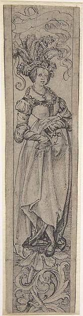 Standing Woman, Circle of Lucas Cranach the Elder (German, Kronach 1472–1553 Weimar), Pen and ink
