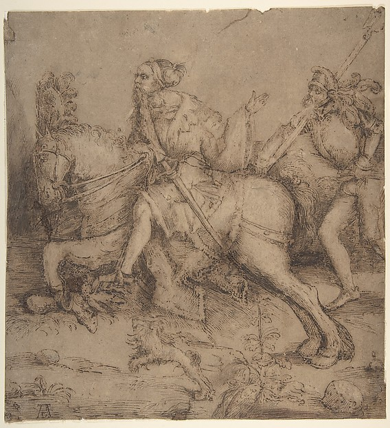 Knight on Horseback and Landsknecht, Albrecht Dürer (German, Nuremberg 1471–1528 Nuremberg), Pen and brown ink, touches of brush and brown wash.  Fully layed down on  paper backing.