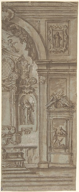 Right Half of a Wall Elevation with a Church Altar, Anonymous, Italian, 18th century, Pen and brown ink, brush and brown wash, over black chalk, highlighted with white gouache, on faded blue-green paper; some stylus-ruled construction.