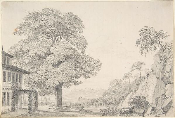 Landscape with a Tree in front of a Villa, Eduard Gaertner (German, Berlin 1801–1877 Zechlin), Graphite