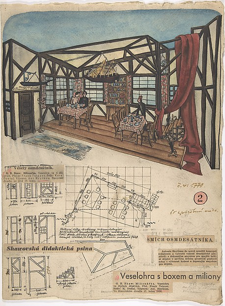 "Theatrical design for Inn Interior for G.B. Shaw's ""Millionairess,"" Prague 1936, Antonín Heythum (Czech, 1901–1954), Pen and black ink, watercolor, and graphite, with collage elements of newspaper and annotations made in graphite, pen and black and green ink, and pink colored pencil."