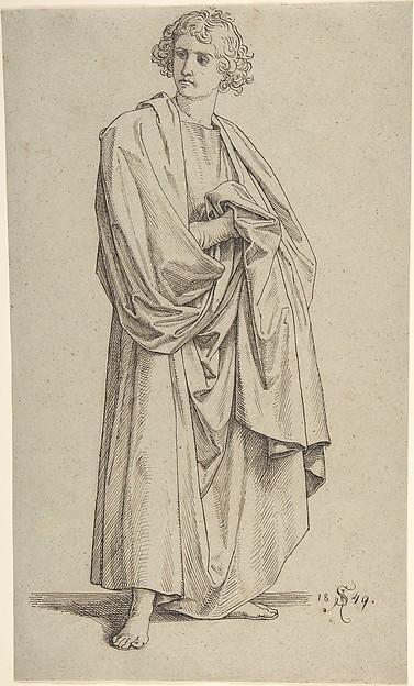 Study of a Male Figure, Julius Schnorr von Carolsfeld (German, Leipzig 1794–1872 Dresden), Pen and brown ink