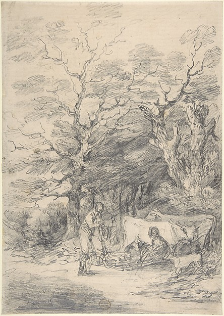 Landscape with cattle and figures; sketch for the Rustic Courtship, Gainsborough Dupont (British, Sudbury, Suffolk 1754–1797 London), Graphite