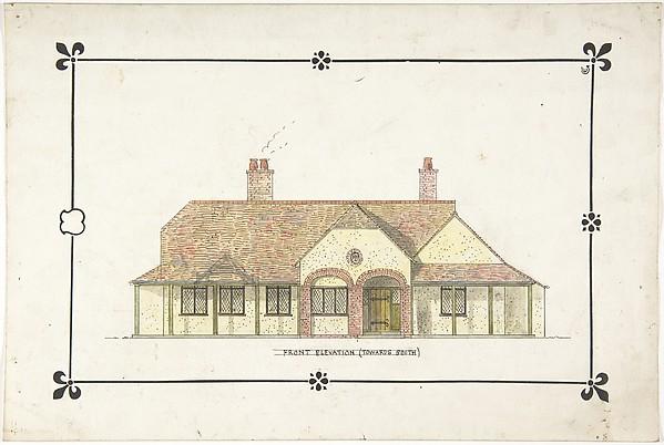Bungalow Drawing Front Elevation Ernest Geldart British London 1848 1929
