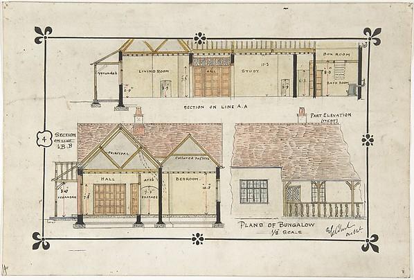 Bungalow Drawing Western Elevation And Interior Ernest Geldart British London 1848