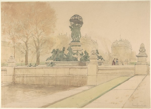 Fontaine de l'Observatoire, Jardins du Luxembourg, Paris, Frank Galsworthy (British, 1863–?after 1951), Watercolor over graphite